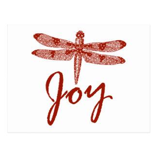 Holiday Joy Dragonfly Postcard