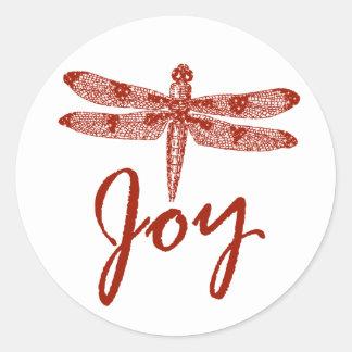 Holiday Joy Dragonfly Round Sticker