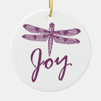 Holiday Joy Purple Dragonfly Christmas Ornament