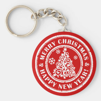 Holiday Keychain: Merry Xmas and Happy New Year Basic Round Button Key Ring