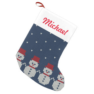 Holiday Knitted Pattern Small Christmas Stocking