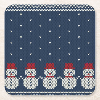 Holiday Knitted Pattern Square Paper Coaster