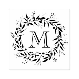 Holiday Laurels and Berries Wreath Family Monogram Rubber Stamp