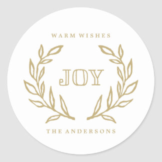 Holiday Laurels Collection Classic Round Sticker