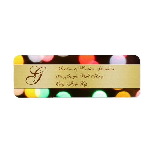 Holiday Lights Monogram New Years Address Labels