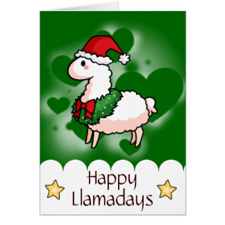 Holiday Llama Elf Card
