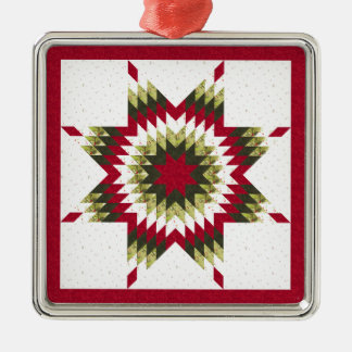 Holiday Lone Star Quilt Design Christmas Ornament