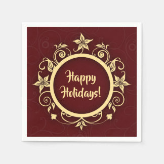 Holiday Maroon & Floral Wreath Custom Message Disposable Napkin