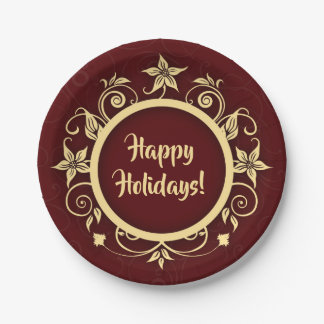 Holiday Maroon & Floral Wreath Custom Message Paper Plate