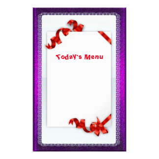 Holiday Menu Paper With Red Bows Stationery