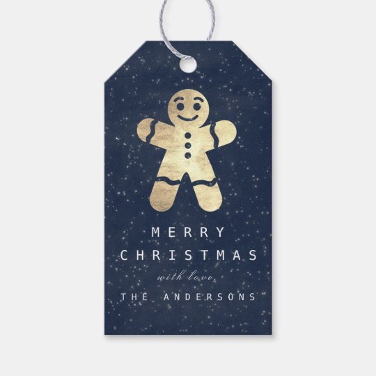 Holiday Merry Gift To Grey Gingerbread Blue Navy Gift Tags