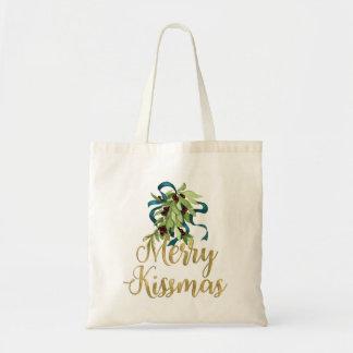 Holiday Mistletoe Gold Merry Kissmas Budget Tote Bag