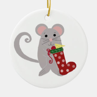 Holiday Mouse with Red Stocking Round Ceramic Decoration