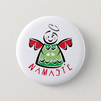 Holiday Namaste Angel 6 Cm Round Badge