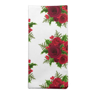 Holiday Napkins Set-Red Roses & Holly