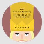 Holiday Nutcracker Address Round Sticker