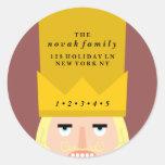Holiday Nutcracker Address Round Sticker
