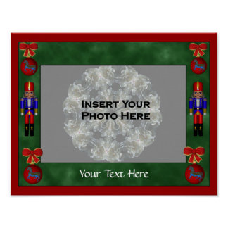 Holiday Nutcracker Ornaments Photo Template Poster