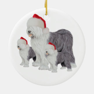 Holiday Old English Sheepdog Circle Ornament