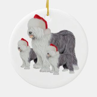 Holiday Old English Sheepdog Circle Ornament