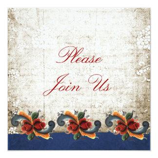 Holiday Open House Rosemaling Scandinavian 13 Cm X 13 Cm Square Invitation Card