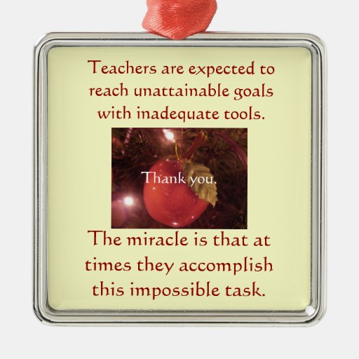 Holiday ornament gift for teachers