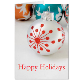 Holiday Ornament on White Blank Note Card