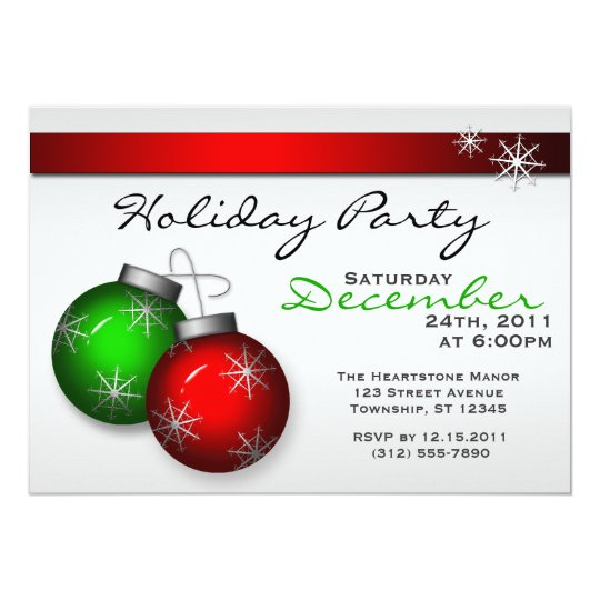 Holiday Ornaments Party Invitations
