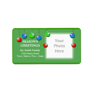 Holiday Ornaments Wide Photo Frame Address Label