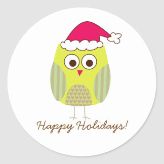 Holiday Owl in Santa Hat Stickers