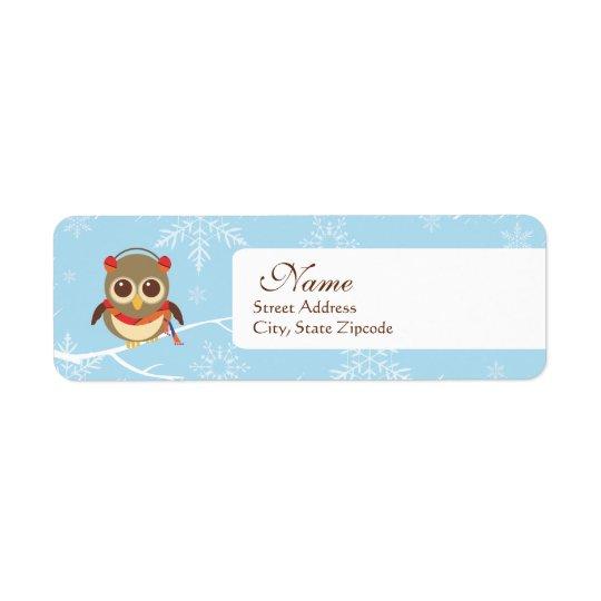 Holiday Owl Return Address Label