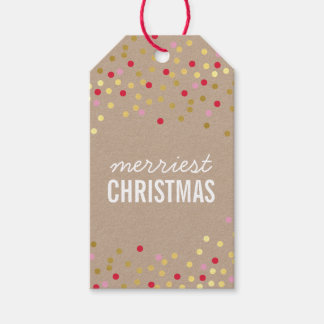 HOLIDAY PACKAGING gold confetti spots red kraft Gift Tags