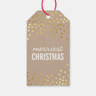 HOLIDAY PACKAGING TAG gold confetti spots kraft