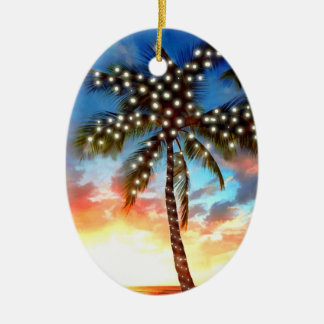 Holiday Palm Tree Lights at Sunset Christmas Ornament