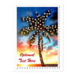 Holiday Palm Tree Lights at Sunset Postcards