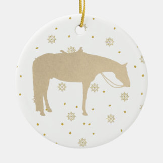 Holiday Parchment Gold White Western Horse Christmas Ornament