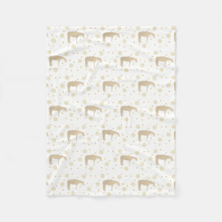 Holiday Parchment Gold White Western Horse Fleece Blanket