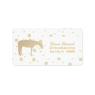 Holiday Parchment Gold White Western Horse Label