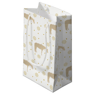 Holiday Parchment Gold White Western Horse Small Gift Bag