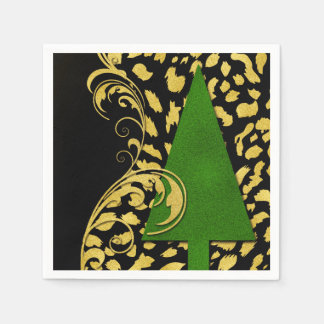 Holiday Party Elegance in Gold Black and Green Disposable Napkin