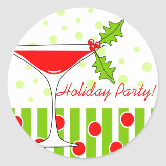 Holiday Party Holly Cocktail Sticker