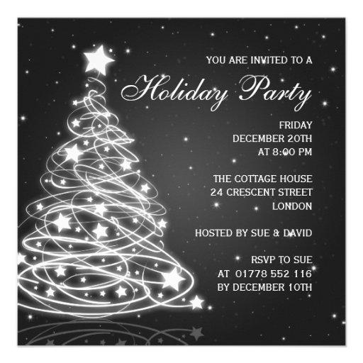 Holiday Party Invitation Christmas Tree Black Custom Invitation