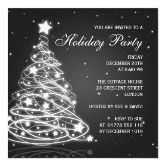 Holiday Party Invitation Christmas Tree Black