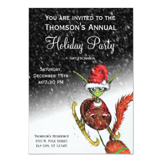 "Holiday Party Invitation - Elf Riding Sleigh 5"" X 7"" Invitation Card"