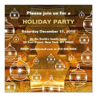 Holiday Party Invitation Gold Mosaic Ornament