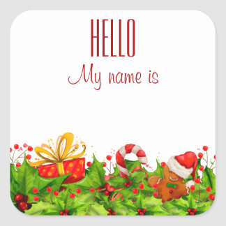 Holiday Party Invitation HELLO name tags