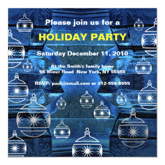 Holiday Party Invitation Sapphire Blue Ornament