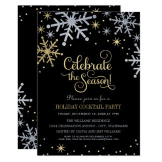 Holiday Party Invitations | Silver and Gold Colors