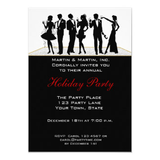 Holiday Party, People Silhouette Invitation