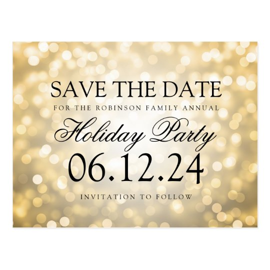 Holiday Party Save The Date Gold Glitter Lights
